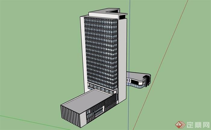 现代独特详细的办公楼建筑su模型