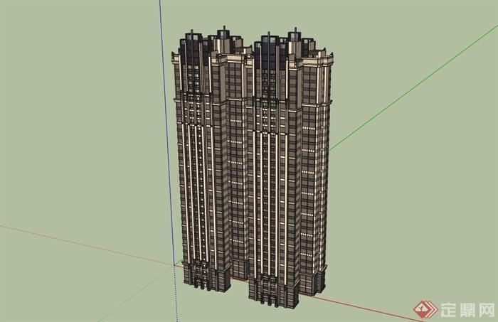 新古典风格详细的完整住宅楼设计su模型