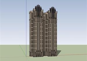 新古典风格详细的完整住宅楼设计SU(草图大师)模型