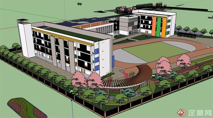 小学校园教学楼建筑设计su模型