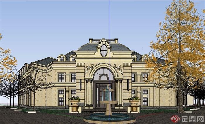 法式风格两层售楼处建筑设计su模型