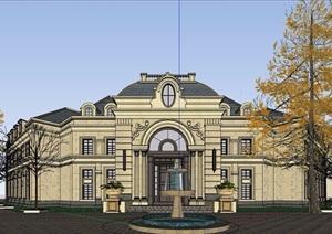 法式风格两层售楼处建筑设计SU(草图大师)模型