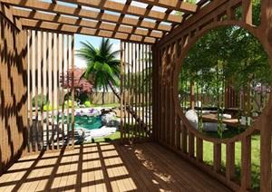 别墅庭院花园景观设计su精品模型