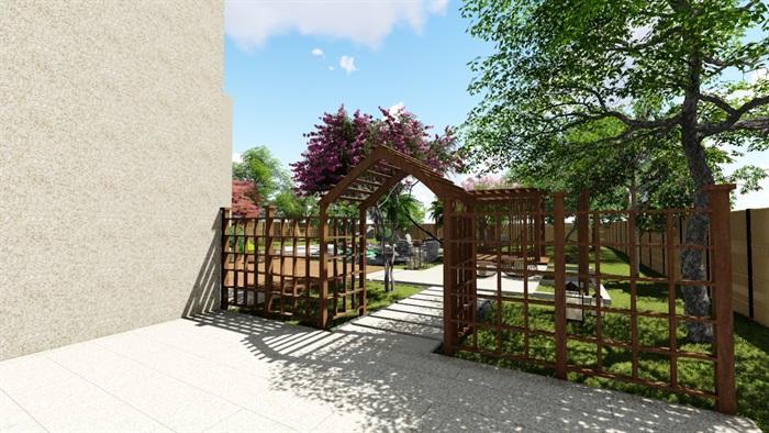 别墅庭院花园景观设计su精品模型(2)