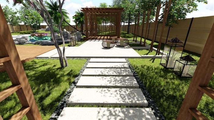 别墅庭院花园景观设计su精品模型(3)