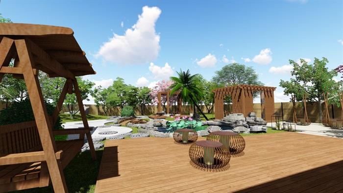 别墅庭院花园景观设计su精品模型(6)