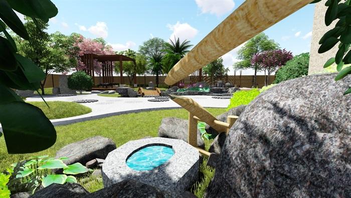 别墅庭院花园景观设计su精品模型(7)