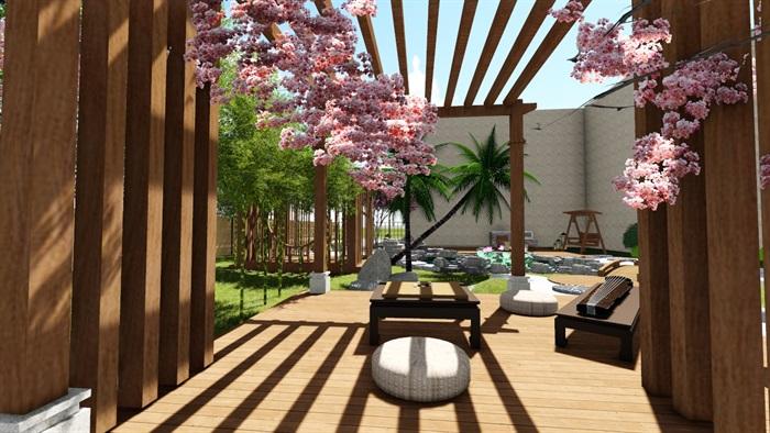 别墅庭院花园景观设计su精品模型(10)