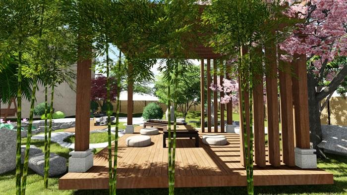别墅庭院花园景观设计su精品模型(13)