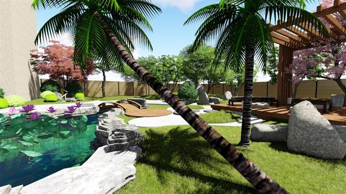 别墅庭院花园景观设计su精品模型(15)