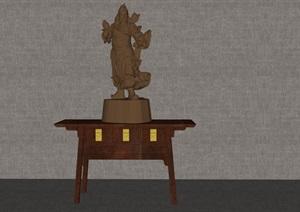 關二爺木質擺件精細SU(草圖大師)模型