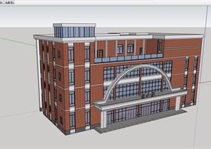 现代风格四层学校教育建筑楼设计SU(草图大师)模型