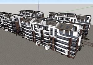中式多层小区居住楼完整设计SU(草图大师)模型