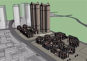 某欧式风格想现代商业住宅楼设计SU(草图大师)模型