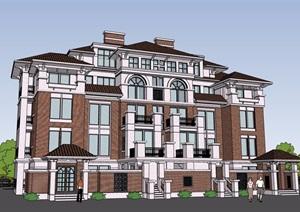 洋房详细多层住宅楼设计SU(草图大师)模型