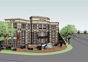 新古典风格沿街商业多层建筑楼设计SU(草图大师)模型