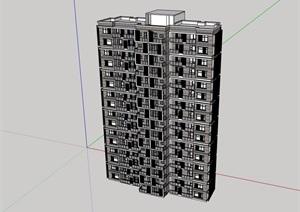 现代风格住宅楼建筑设计SU(草图大师)模型
