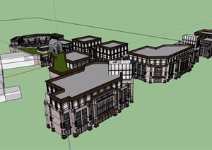 新古典风格商业区多层建筑楼设计SU(草图大师)模型