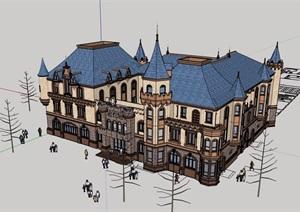 欧式贵族学校多层详细建筑设计SU(草图大师)模型