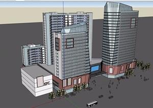 一套精美的商业综合体建筑设计SU(草图大师)模型