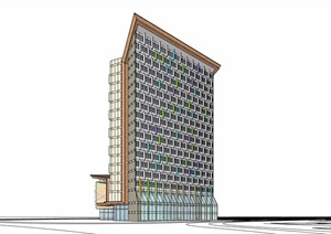 某詳細的完整星級酒店建筑設計SU(草圖大師)模型