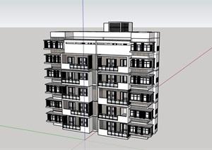 现代板式多层住宅建筑楼设计SU(草图大师)模型