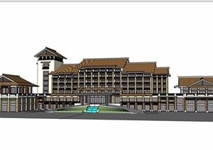 中式詳細的酒店建模SU(草圖大師)模型