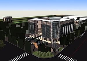 某现代风格详细的商业中心建筑楼SU(草图大师)模型