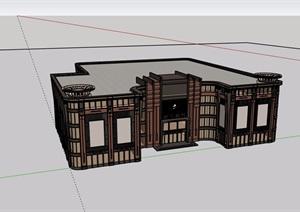 现代风格详细的完整商场建筑设计SU(草图大师)模型