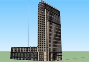 某現代風格詳細的高層酒店大廈建筑設計SU(草圖大師)模型