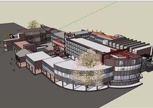 某现代风格详细的商业中心建筑设计SU(草图大师)模型
