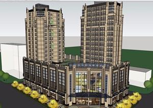 某新古典风格商业详细高层住宅楼设计SU(草图大师)模型