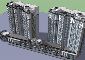 详细的完整商业住宅建筑楼设计SU(草图大师)模型
