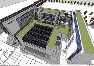 某现代风格多层中学教学楼建筑设计SU(草图大师)模型