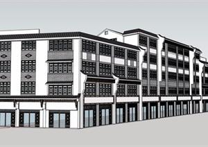 中式风格详细的五层商业街建筑楼设计SU(草图大师)模型