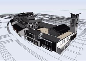 精细中式商业街多层详细建筑设计SU(草图大师)模型