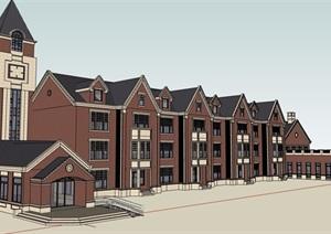 英式幼儿园2700平方建筑楼设计SU(草图大师)模型
