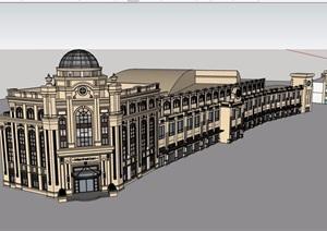 新古典底商多层建筑楼设计SU(草图大师)模型