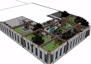 中式屋顶花园庭院景观设计SU(草图大师)模型