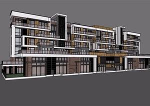 某现代风格详细的多层住宅小区楼设计SU(草图大师)模型