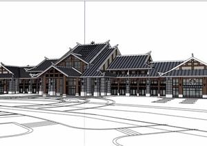 古典中式风格详细的游客中心建筑SU(草图大师)模型
