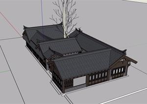 中式风格详细的四合院民居住宅楼设计SU(草图大师)模型