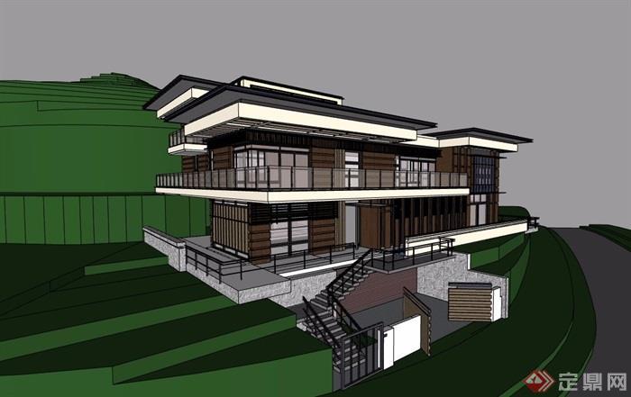 山地别墅详细完整多层建筑设计su模型
