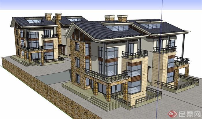 详细的多层完整住宅别墅设计su模型