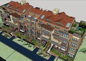 欧式风格详细的小区居住建筑楼SU(草图大师)模型