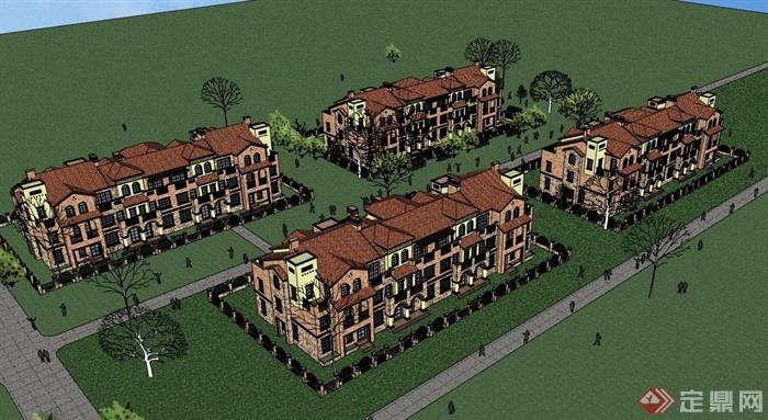 详细的欧式小镇住宅小区风格v小镇su模型别墅别墅毕加索上海图片