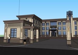 三层新古典风格办公楼建筑设计SU(草图大师)模型
