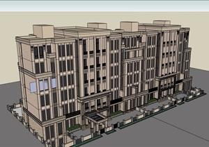 某新古典风格多层住宅小区建筑楼设计SU(草图大师)模型