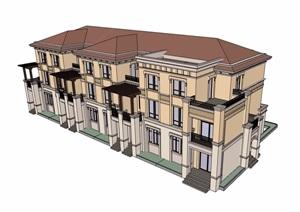 某多层详细的小区住宅别墅建筑楼设计SU(草图大师)模型
