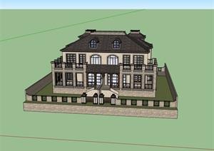 欧式风格详细的双拼住宅别墅设计SU(草图大师)模型